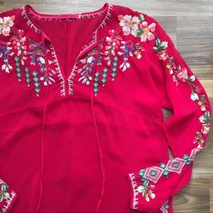 Johnny Was Embroidered Vibrant Blouse